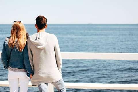 Medium beach beautiful couple 1121697