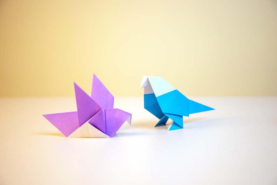 折り紙の猫と一緒に作ったとり